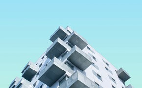 Picture the sky, house, the building, balcony, facade, balconies