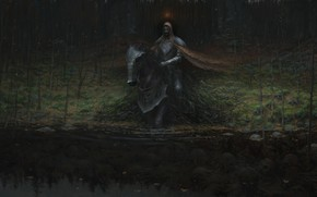 Picture death, swamp, skull, undead, king of the dead, damn place, gloomy atmosphere, black horse, the …
