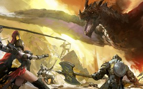 Picture girl, Dragon, armor, battle, weapons, bow, artwork, warriors, fantasy art, arrows, archer, creature, pearls, spear, …
