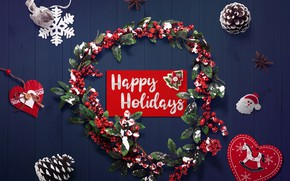 Picture decoration, background, heart, Christmas, New year, new year, happy, Christmas, wreath, bumps