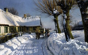 Picture Danish painter, Peter Merk Of Menstad, Peder Mørk Mønsted, Danish realist painter, 1923-24, Winter in …