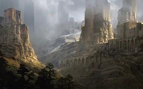 Picture ruins, Art, Fantasy landscape, Sentinels, Raphael Lacoste
