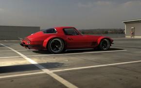Picture Red, Auto, Corvette, Retro, Machine, 1967, Rendering, Rostislav Prokop, by Rostislav Prokop, Corvette 1967