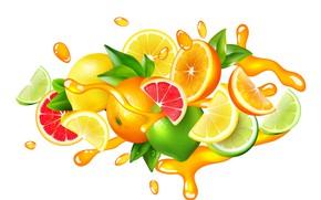 Picture white, background, splash, colorful, juice, drops, lemonade, fruits, citrus, citrus, composition