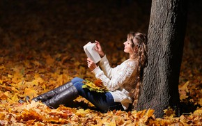 Picture leaves, girl, tree, book