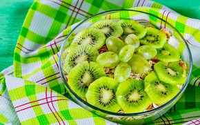Picture towel, kiwi, grapes, bowl, fruit
