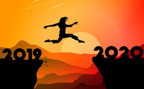 Picture jump, silhouette, 2020, 2019