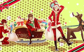Picture new year, Christmas, guys, Starry Sky, Starry★Sky, visual novel, anime (2011)