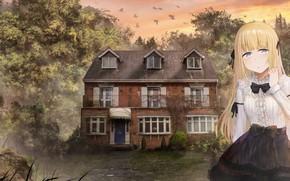 Picture landscape, house, girl, mansion