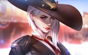 Picture Girl, Look, Lips, Face, Hat, Blizzard, Art, Game, Illustration, Ashe, Sheriff, Overwatch, Game Art, Lisa …