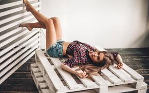 Picture shorts, Girl, lies, shirt, pallet, Victor Ambartsumov
