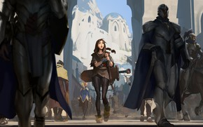Picture city, Girl, sword, fantasy, soldiers, armor, weapon, street, people, animal, horse, digital art, buildings, artwork, …