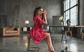Picture girl, pose, table, room, dress, window, sitting, Maria Voloh