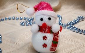 Picture holiday, toy, Christmas, New year, fabric, beads, snowman, figure, Christmas decorations, Christmas decorations, новогодние декорации