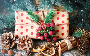 Picture snow, decoration, New Year, Christmas, gifts, christmas, balls, wood, winter, snow, merry, decoration, gift box, …