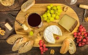 Picture table, wine, cheese, walnut, glasses, bread, grapes, tube, Board, plug, corkscrew, walnut