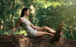 Picture girl, nature, pose, tree, earrings, figure, dress, bokeh, Andrea Carretta