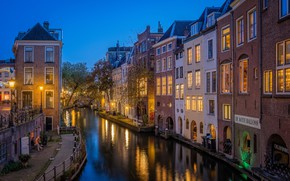 Picture building, home, channel, Netherlands, night city, promenade, Netherlands, Utrecht, Utrecht, Old Canal, Centre, The Oudegracht …