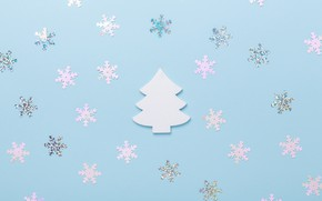 Picture snowflakes, background, holiday, blue, tree, Christmas