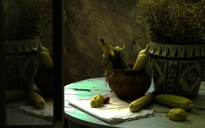 Picture reflection, the dark background, table, background, chamomile, towel, bouquet, corn, mirror, pot, pepper, still life, …