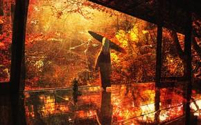 Picture autumn, girl, umbrella, porch, Lifeline