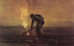 Picture Vincent van Gogh, man and fire, Peasant Burning Weeds
