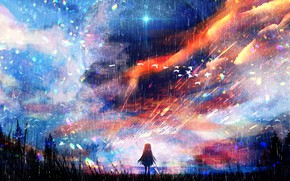 Picture the sky, nature, rain, girl