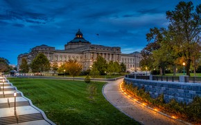 Picture the sky, trees, lights, the evening, lights, Washington, USA, Palace, sidewalks, lawns, Library of Congres