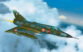Picture art, airplane, painting, aviation, Mirage 3e