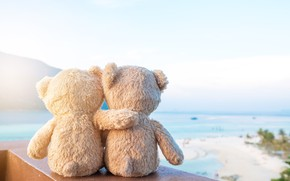 Wallpaper sand, sea, beach, love, toy, bear, bear, pair, love, two, beach, bear, sea, romantic, sand, ...
