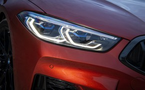 Picture coupe, headlight, BMW, before, bumper, 2018, 8-Series, 2019, dark orange, M850i xDrive, Eight, G15