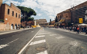 Picture road, clouds, people, street, building, home, Rome, Europe, Colosseum, Italy, Italy, Rome, Europa