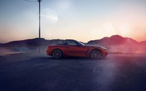 Picture the sky, asphalt, mountains, red, shore, BMW, Parking, profile, Roadster, pond, lamppost, BMW Z4, First …