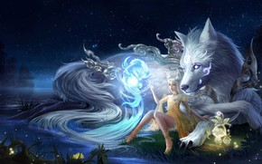 Picture Water, Girl, Night, Dog, Being, River, Shore, Style, Girl, Magic, Wolf, Fantasy, Dog, Art, Art, …