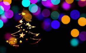 Picture graphics, new year, stars, tree, bokeh, digital art