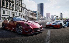 Picture road, machine, the city, people, race, the game, Ferrari, Ford GT, cars, GRID, 2019, GRID …