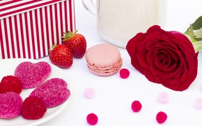 Picture rose, Pink, hearts, rose, romantic, marmalade, sweets