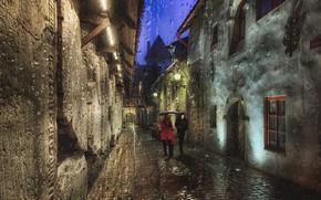 Picture the city, rain, home, the evening, lighting, Tallinn, pair, lane