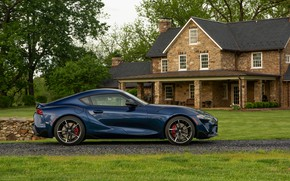 Picture house, coupe, Toyota, side view, Supra, the fifth generation, mk5, double, dark blue, 2020, 2019, …