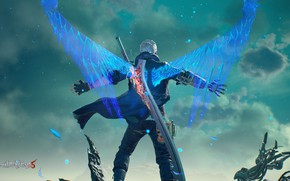Picture wings, guy, Nero, Devil May Cry 5
