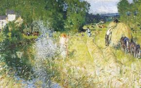 Picture landscape, picture, Hay, Pierre Eugène Montesin, Pierre-Eugene Montezin