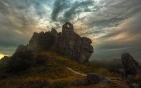 Picture autumn, fog, stones, castle, hill, ruins