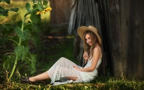 Picture flower, smile, Girl, hat, Daisy, sitting, Dasha, Anastasia Barmina