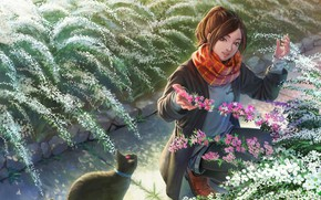 Picture cat, cat, girl, flowers, painting, flowerbed, the bushes