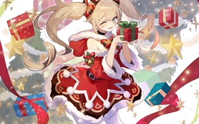 Picture new year, gifts, horns, Barbara, Genshin Impact