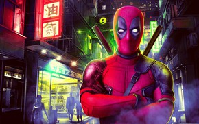 Picture night, the city, lights, fiction, street, home, mask, art, costume, characters, signs, swords, poster, Deadpool, …
