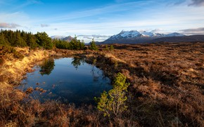 Picture field, autumn, forest, the sky, grass, water, clouds, mountains, nature, lake, reflection, blue, blue, shore, …
