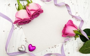 Picture roses, bouquet, tape, pink, beads, Olena Rudo
