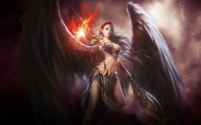 Picture fire, girl, fantasy, magic, wings, red eyes, Angel, digital art, artwork, warrior, fantasy art, rod, …