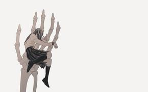 Picture girl, hand, bones, skeleton